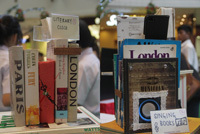 The clock and the mobile phone dock, fashioned out of recycled books, were the most popular products at the stall