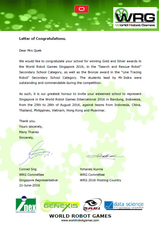 Letter of Congratulations - WRG 2016