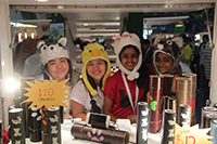 Raeann, Faith, Theenmathi and P. Maitreyah with their animal shaped hats at their pushcart.